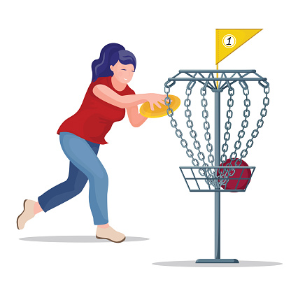 Woman throwing a frisbee disc to the basket.