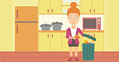 A woman putting junk food into a trash bin on the background of kitchen vector flat design illustration. Horizontal layout.