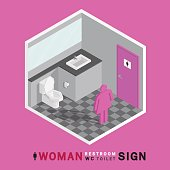 woman toilet sign in restroom on gray tile floor isometric