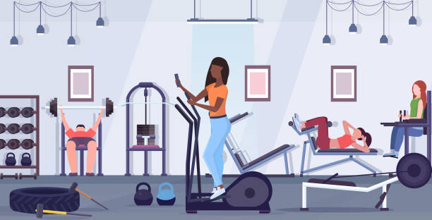woman training on stepper treadmill african american girl using smartphone while working out digital gadget addiction concept modern gym studio interior flat full length horizontal woman training on stepper treadmill african american girl using smartphone while working out digital gadget addiction concept modern gym studio interior flat full length horizontal vector illustration exercise machine stock illustrations