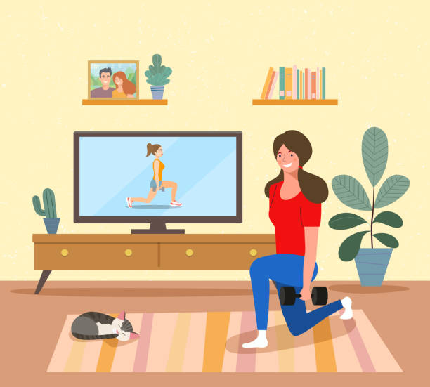 Woman training while watching fitness program home workout in the living room. Vector flat illustration vector art illustration