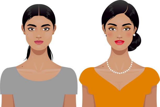 ilustraciones, imágenes clip art, dibujos animados e iconos de stock de transformación de la mujer - cabello negro