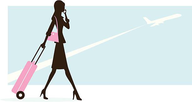 Woman Traveling vector art illustration