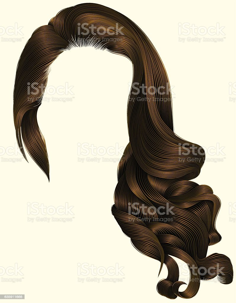 woman trendy long curly brunette hairs wig brown  . retro style . vector art illustration