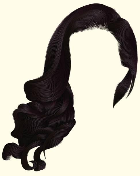 ilustraciones, imágenes clip art, dibujos animados e iconos de stock de pelos de morena largo rizado moda mujer peluca marrón. estilo retro. - cabello castaño