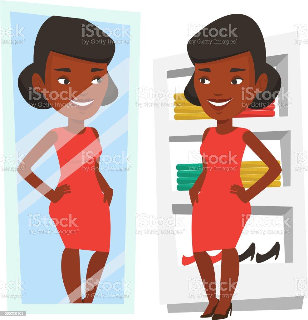 Frau versucht auf Kleidung in Umkleidekabine – Vektorgrafik
