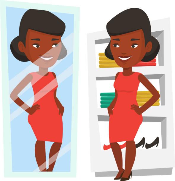 frau versucht auf kleidung in umkleidekabine - damenmode stock-grafiken, -clipart, -cartoons und -symbole