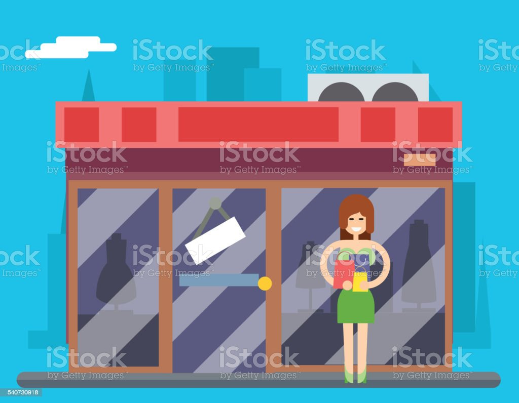 Woman Turns out Overstock Store sale in Characters Icon Symbol vector art illustration