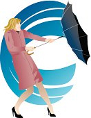 Woman Umbrella Wind C