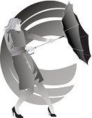 Woman Umbrella Wind