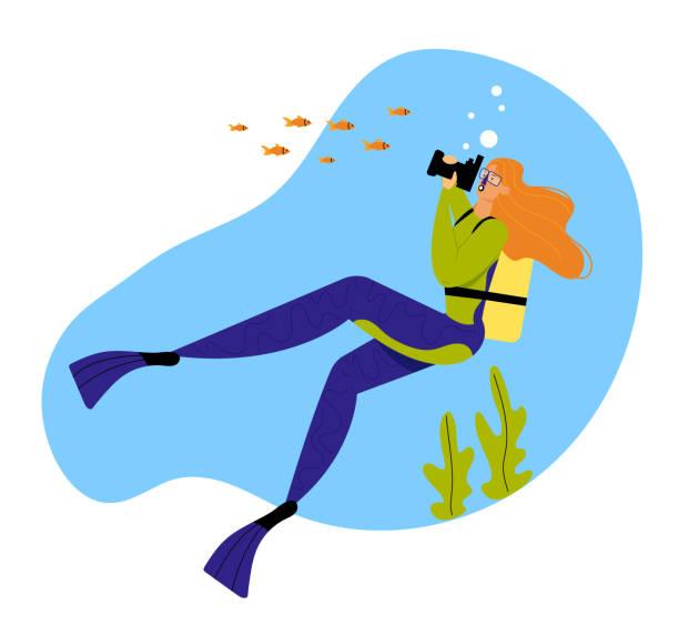 stockillustraties, clipart, cartoons en iconen met vrouw onderwater duiker fotograferen van vis in de oceaan, vrouwelijk karakter met snorkel, flippers en masker actieve recreatie, vakantie tijdverdrijf, meisje vrijetijdsbesteding activiteit. cartoon platte vector illustratie - ocean under water