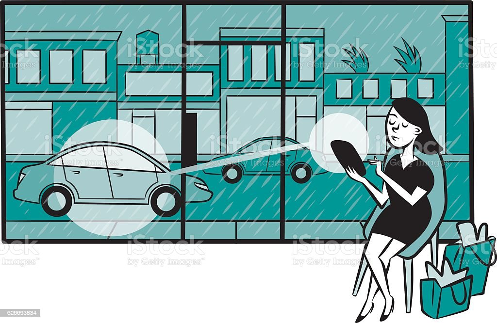 Woman uses a smartphone app to call a car vector art illustration