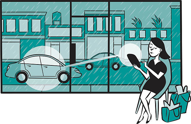 Woman uses a smartphone app to call a car A woman uses a ride sharing app on her smartphone to conveniently call a car while shopping during a rainstorm. hailing a ride stock illustrations