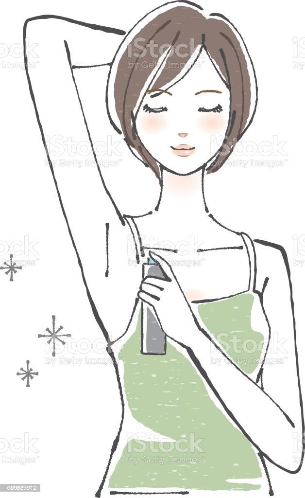一個女人使用無香味除臭噴霧 / 短頭髮向量藝術插圖