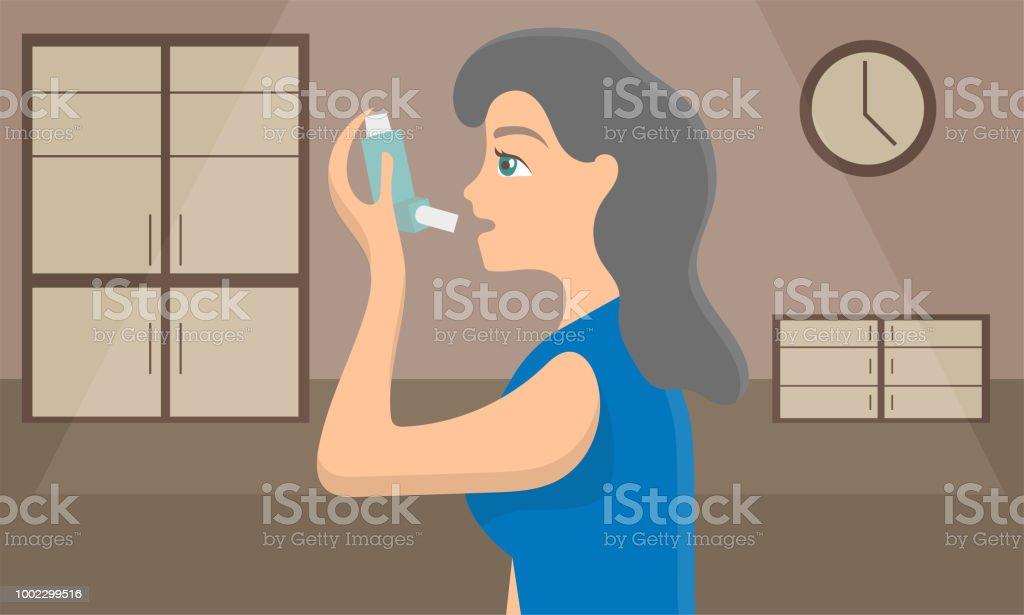 Frau Mit Einem Sprayinhalator Um Asthmaanfall Zu Stoppen ...