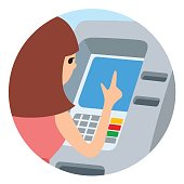 Woman using ATM machine. Vector illustration round icone isolated white