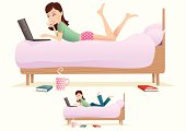 Young woman using her laptop on the bed. Bed/woman, cup and book elements are all isolated from each other and movable. Below is an alternative image but with the girl wearing jeans. Illustration is isolated from background.