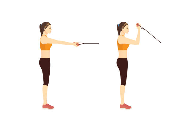 Woman using equipment for exercise with Standing one arm biceps curl with resistance band. vector art illustration