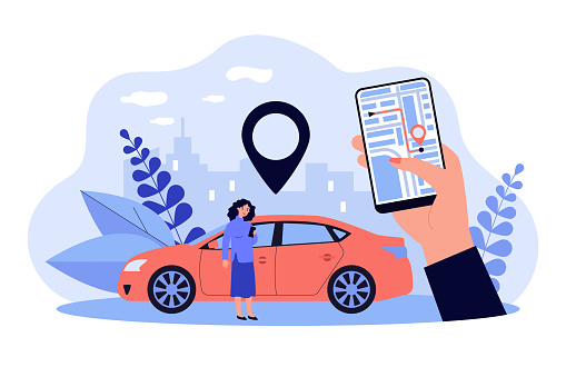 Woman using GPS system in app on her mobile phone