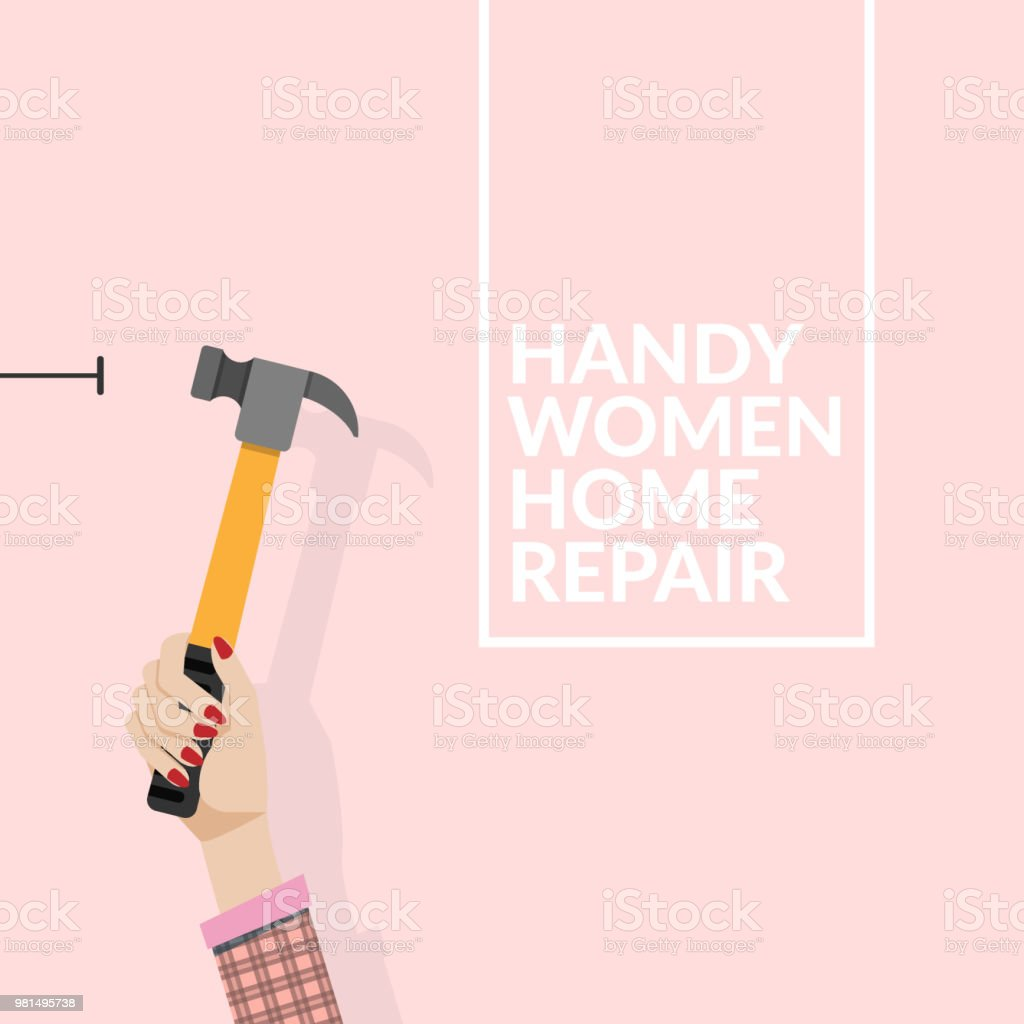 woman using hammer and nail on the wall isolated on pink background. do it yourself home repair by woman concept. vector illustration EPS10 with copy space , flat design vector art illustration