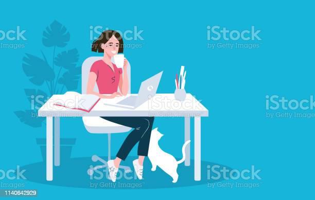 Woman using laptop flat vector illustration vector id1140642929?b=1&k=6&m=1140642929&s=612x612&h=9ez2cff gy26codr335cjklejcq339cjygmxibpu b8=