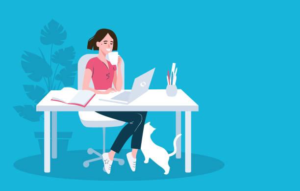 stockillustraties, clipart, cartoons en iconen met vrouw met behulp van laptop platte vector illustratie - illustraties van webshop