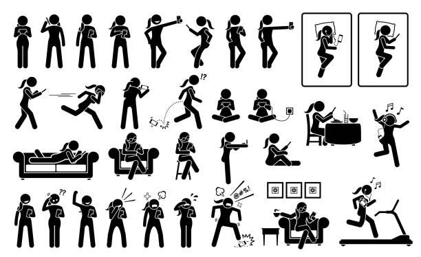 bildbanksillustrationer, clip art samt tecknat material och ikoner med kvinna som använder telefon eller smartphone i olika ställningar, handlingar, känslor, reaktioner och platser. - gym skratt