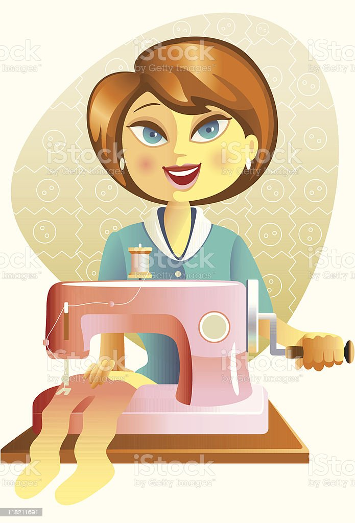 Woman using sewing machine royalty-free stock vector art