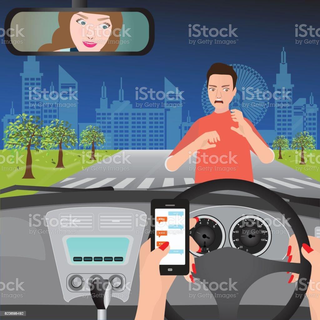 Frau mit Smartphone während der Fahrt des Autos. – Vektorgrafik