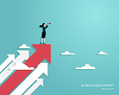 Business vision and target, Business woman holding telescope standing on red arrow up go to success in career. Concept business, Achievement, Character, Leader, Vector illustration flat