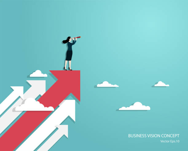 Woman using telescope standing on arrow Business vision and target, Business woman holding telescope standing on red arrow up go to success in career. Concept business, Achievement, Character, Leader, Vector illustration flat mountain top stock illustrations