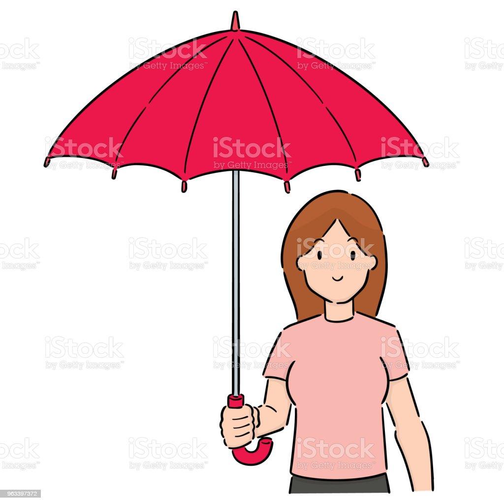 kobieta za pomocą parasola - Grafika wektorowa royalty-free (Bazgroły - Rysunek)