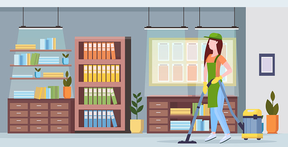 woman using vacuum cleaner girl in uniform vacuuming floor cleaning service concept modern co-working center office interior flat full length horizontal