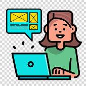 Woman UX designer working on laptop