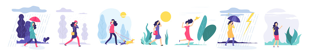 Woman various weather. Girl walking outdoors in different clothes snowfall cloudy wind heat rain with umbrella cold season vector set