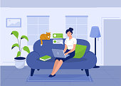 Happy woman sitting on sofa with laptop. Flat style modern vector illustration.