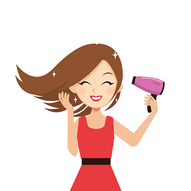 Best Blow Drying Hair Illustrations, Royalty-Free Vector ...