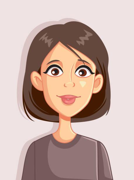 stockillustraties, clipart, cartoons en iconen met vrouw vector portret cartoon avatar illustratie - karikatuur