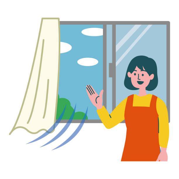 frau lüftung illustration fenster geöffnet - lüften stock-grafiken, -clipart, -cartoons und -symbole