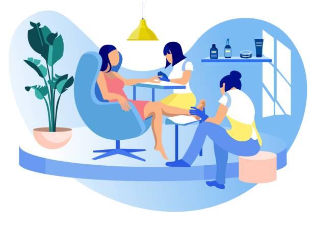 ilustrações, clipart, desenhos animados e ícones de mulher que visita o manicure e o pedicure do salão de beleza - tratamentos de beleza