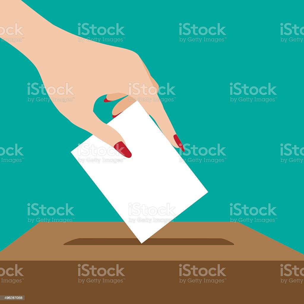 Woman voting flat design. vector art illustration