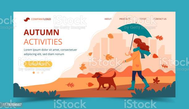 Woman walking a dog in autumn with umbrella landing page template vector id1178758557?b=1&k=6&m=1178758557&s=612x612&h=pgnchsnvg9gtkk ccvldkitfmmjoypze  gblyqviei=