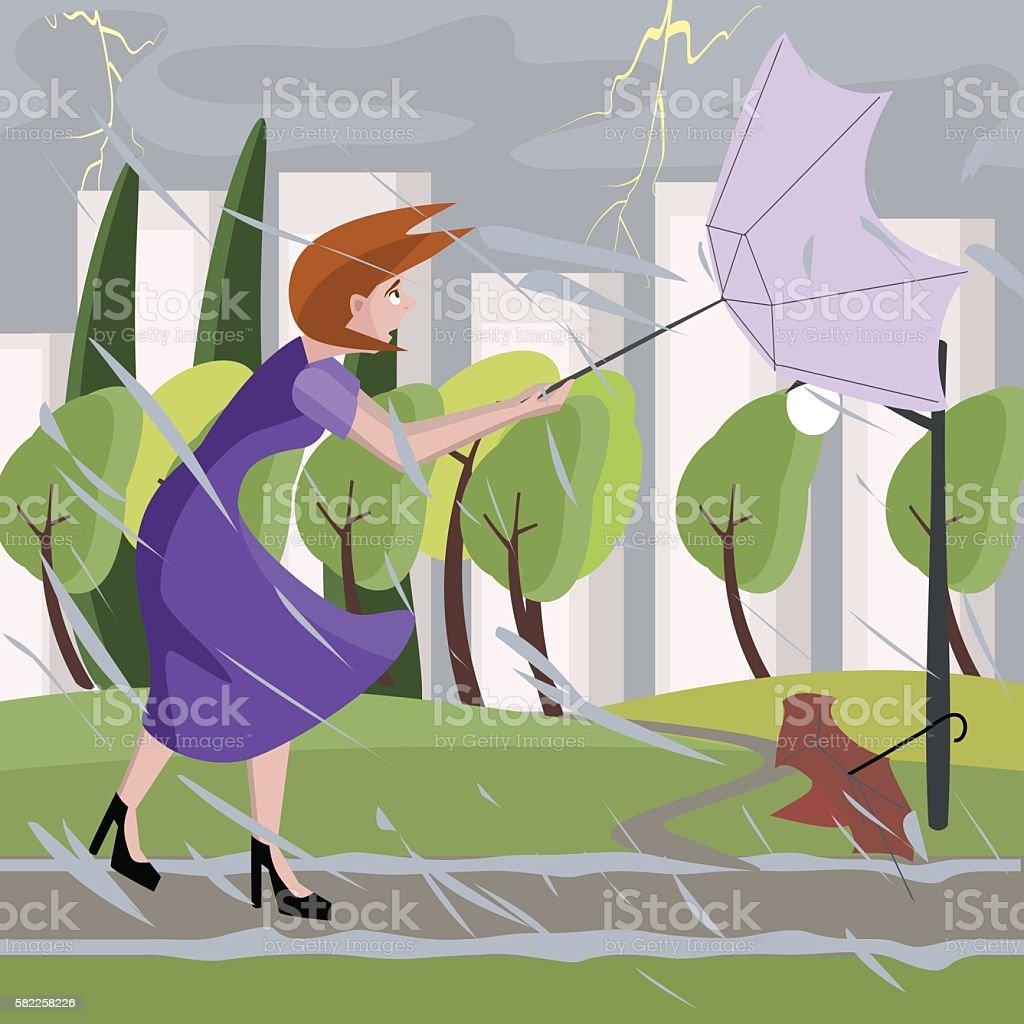 woman walking at summer storm vector art illustration
