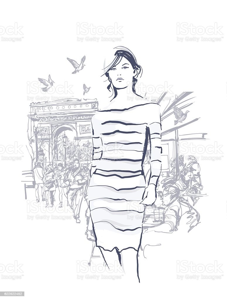 Woman walking at the Champs-Elysees vector art illustration