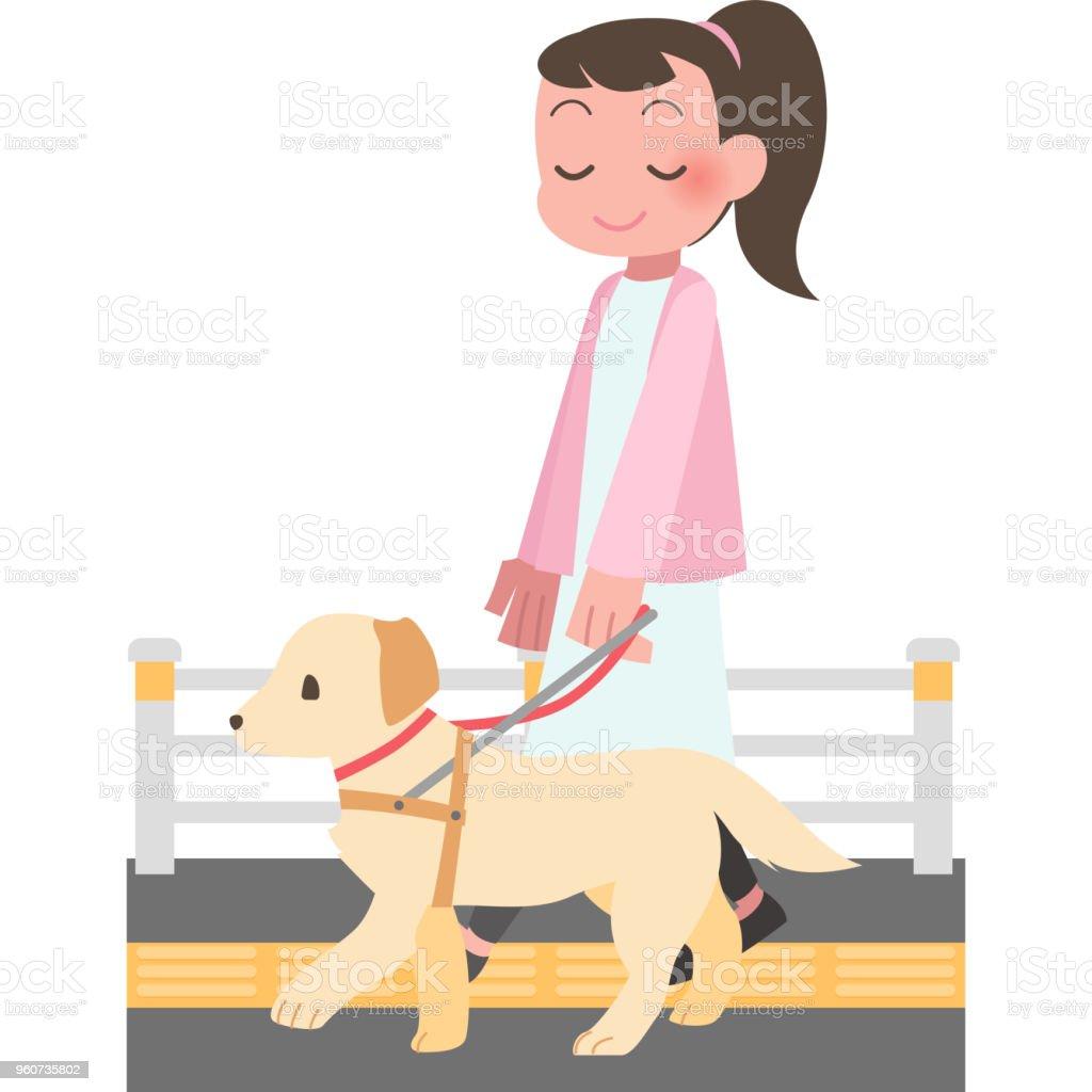 女性の犬のお散歩 ベクターアートイラスト