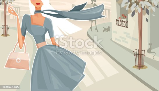 Illustration of a woman walking down the street. Woman and background are grouped and layered separately.