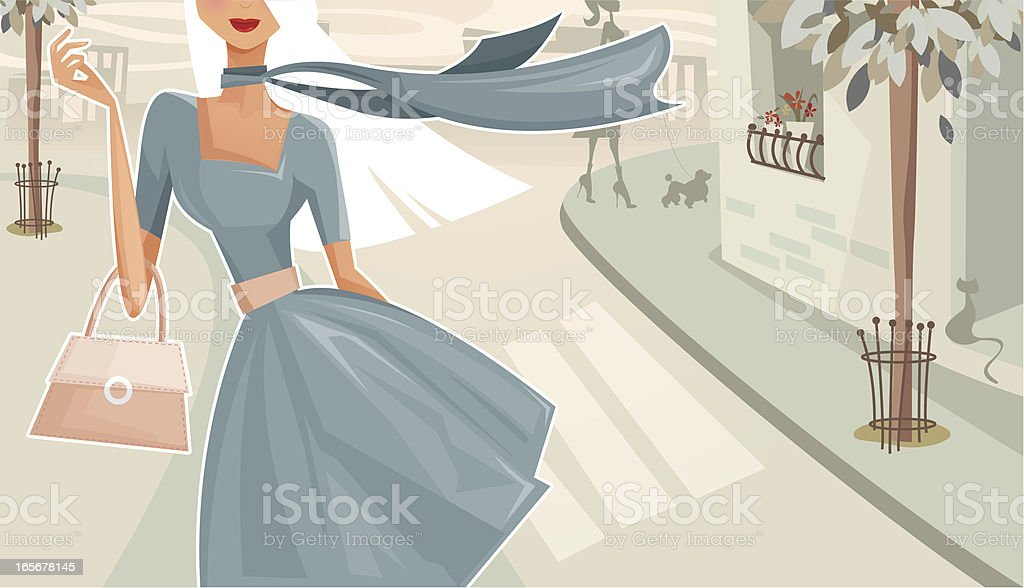 Woman Walking Down The Street vector art illustration
