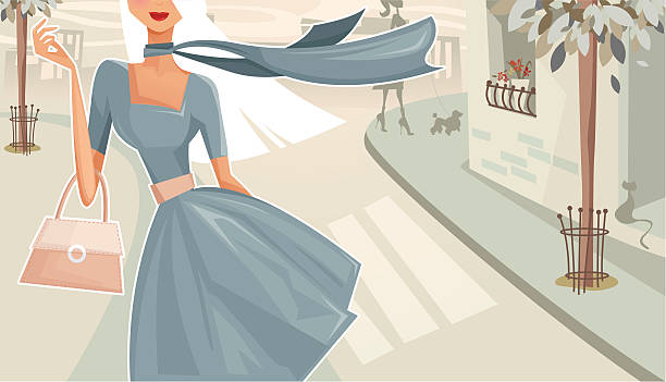 woman walking down the street - womens fashion stock illustrations