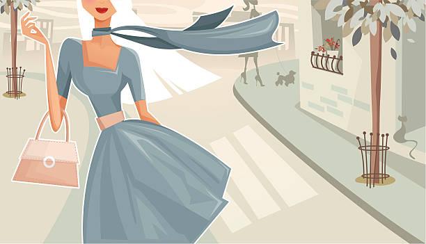 woman walking down the street - womens fashion stock illustrations, clip art, cartoons, & icons