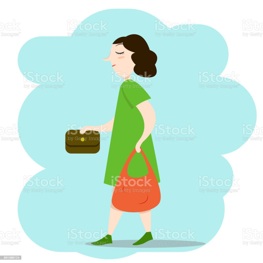 Woman walking down the street with bags vector art illustration